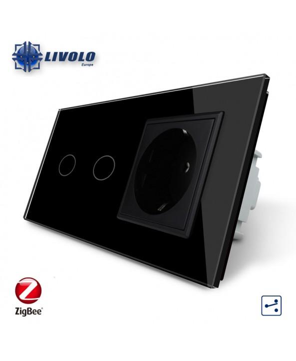 Livolo Tweevoudig Wisselschakelaar met 1 Stopcontact - ZigBee